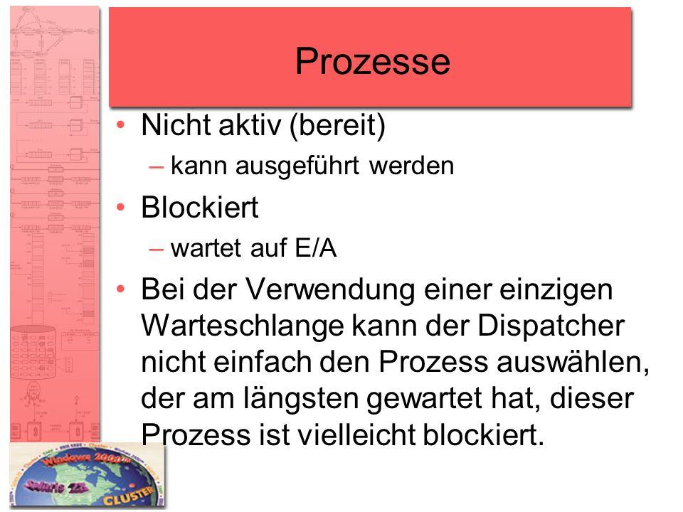 Prozesse Nicht aktiv (bereit) –kann ausgeführt werden Blockiert –wartet auf E/A Bei der Verwendung einer einzigen Warteschlange kann der Dispatcher ni