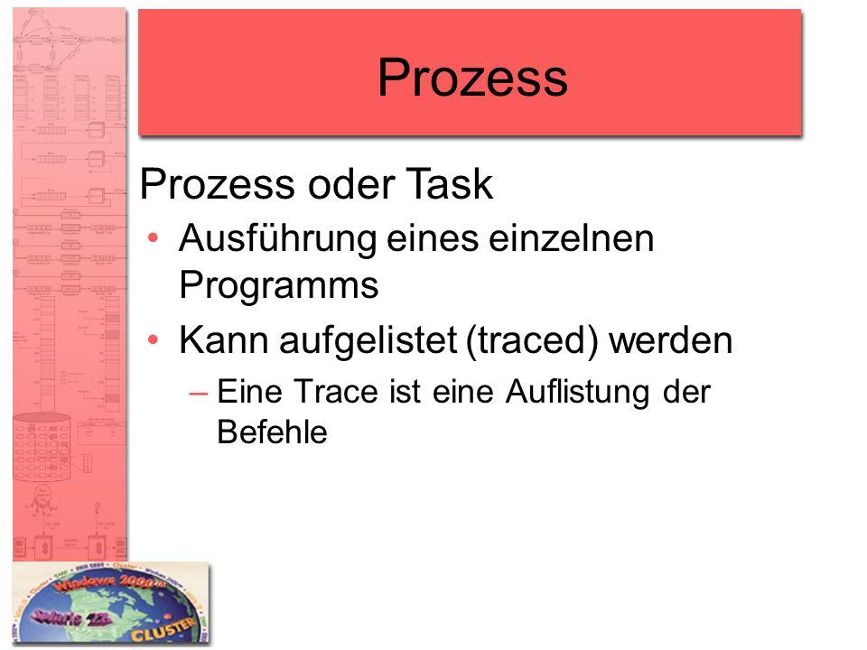 Prozess Ausführung eines einzelnen Programms Kann aufgelistet (traced) werden –Eine Trace ist eine Auflistung der Befehle Prozess oder Task