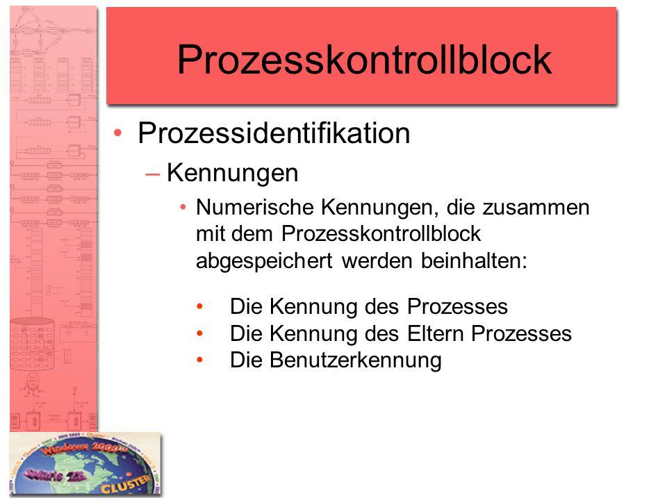 Prozesskontrollblock Prozessidentifikation –Kennungen Numerische Kennungen, die zusammen mit dem Prozesskontrollblock abgespeichert werden beinhalten: