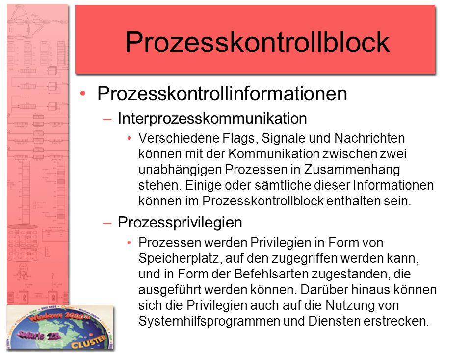 Prozesskontrollblock Prozesskontrollinformationen –Interprozesskommunikation Verschiedene Flags, Signale und Nachrichten können mit der Kommunikation