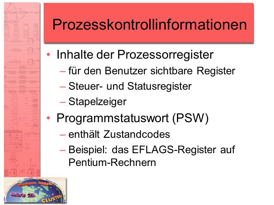 Prozesskontrollinformationen Inhalte der Prozessorregister –für den Benutzer sichtbare Register –Steuer- und Statusregister –Stapelzeiger Programmstat