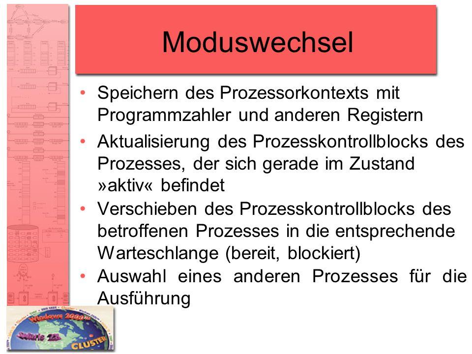 Moduswechsel Speichern des Prozessorkontexts mit Programmzahler und anderen Registern Aktualisierung des Prozesskontrollblocks des Prozesses, der sich