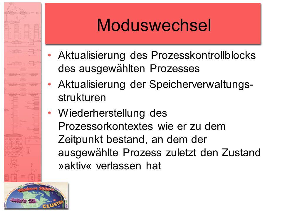 Moduswechsel Aktualisierung des Prozesskontrollblocks des ausgewählten Prozesses Aktualisierung der Speicherverwaltungs- strukturen Wiederherstellung