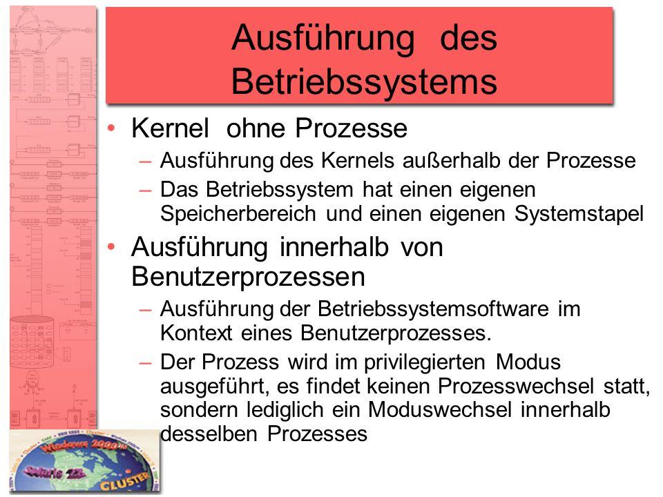 Ausführung des Betriebssystems Kernel ohne Prozesse –Ausführung des Kernels außerhalb der Prozesse –Das Betriebssystem hat einen eigenen Speicherberei