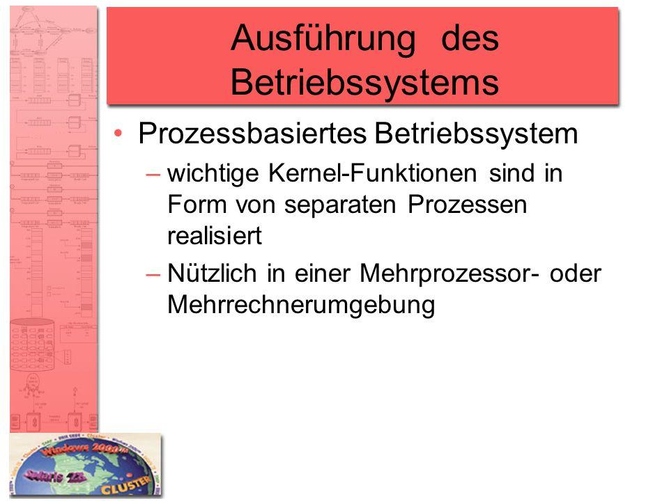 Ausführung des Betriebssystems Prozessbasiertes Betriebssystem –wichtige Kernel-Funktionen sind in Form von separaten Prozessen realisiert –Nützlich i