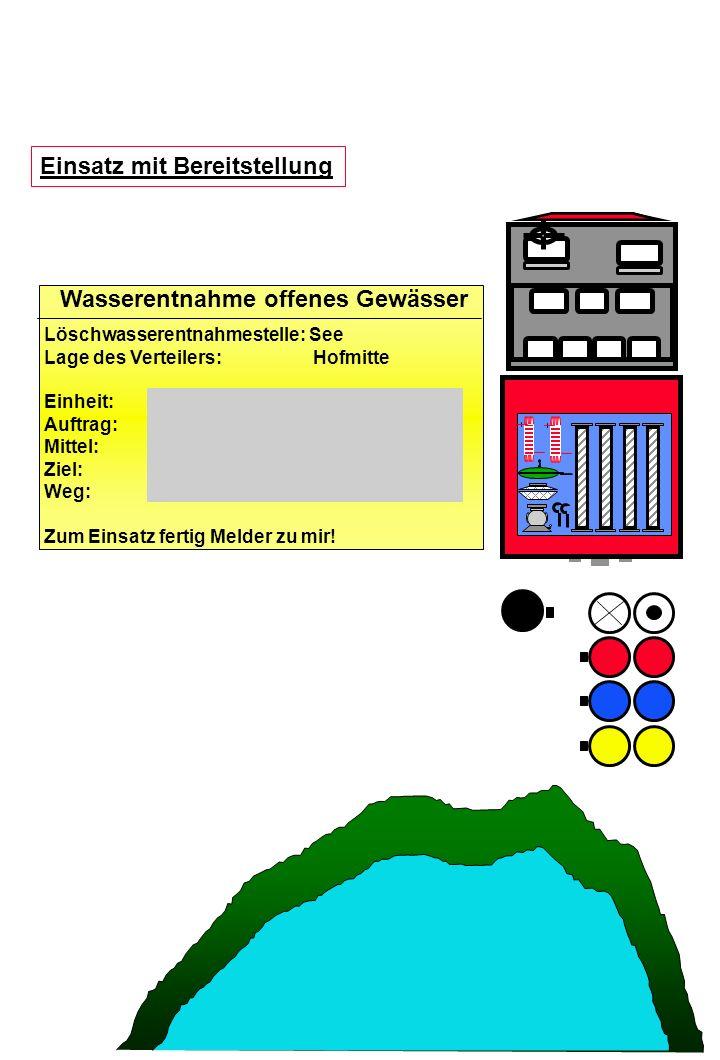 Einsatz mit Bereitstellung Löschwasserentnahmestelle: See Lage des Verteilers: Hofmitte Einheit: Auftrag: Mittel: Ziel: Weg: Zum Einsatz fertig Melder