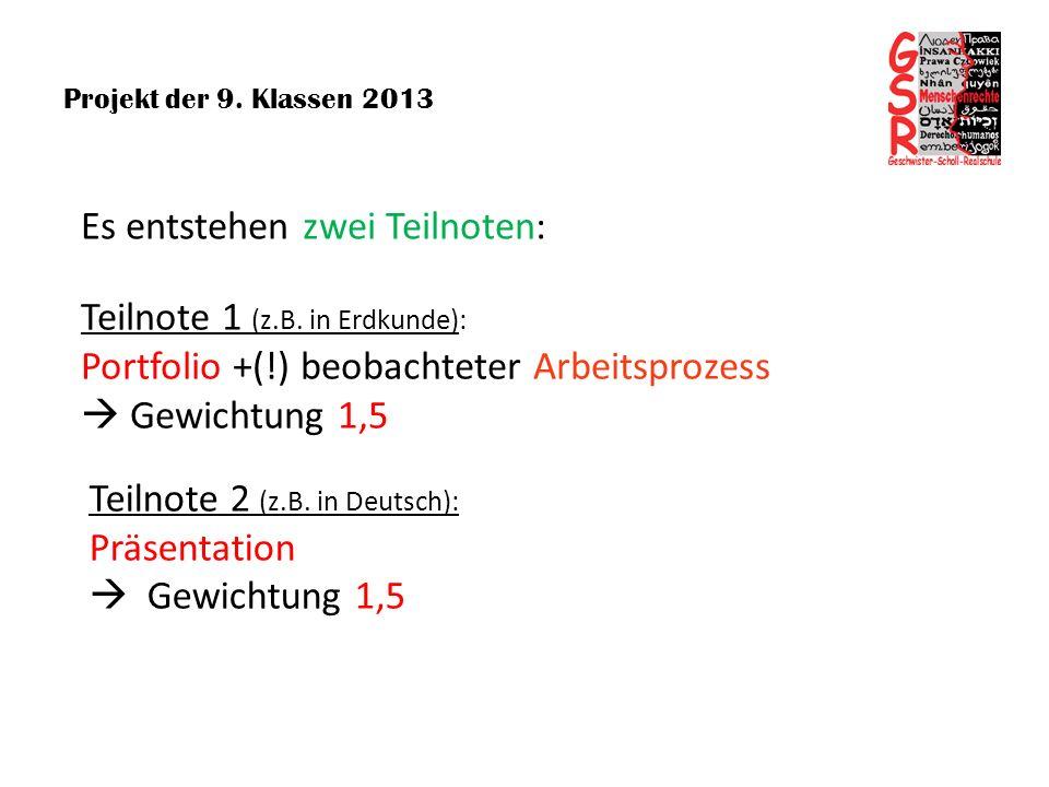 Projekt der 9. Klassen 2013 Teilnote 2 (z.B. in Deutsch): Präsentation Gewichtung 1,5 Teilnote 1 (z.B. in Erdkunde): Portfolio +(!) beobachteter Arbei