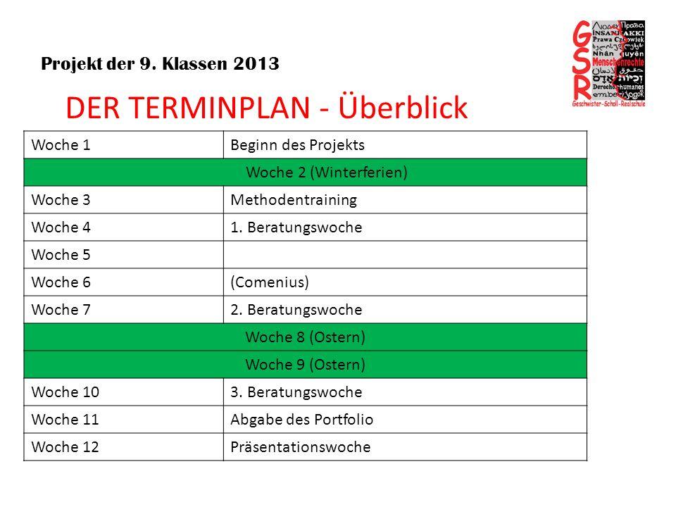 Projekt der 9. Klassen 2013 DER TERMINPLAN - Überblick Woche 1Beginn des Projekts Woche 2 (Winterferien) Woche 3Methodentraining Woche 41. Beratungswo