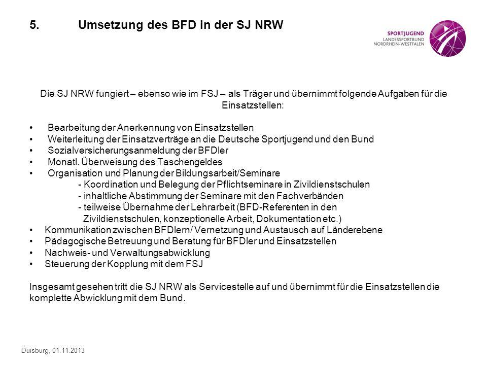 Duisburg, 01.11.2013 5.Umsetzung des BFD in der SJ NRW Die SJ NRW fungiert – ebenso wie im FSJ – als Träger und übernimmt folgende Aufgaben für die Ei
