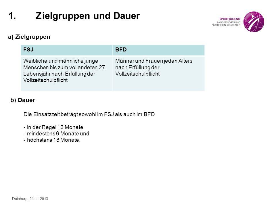 Duisburg, 01.11.2013 1.Zielgruppen und Dauer a) Zielgruppen b) Dauer Die Einsatzzeit beträgt sowohl im FSJ als auch im BFD - in der Regel 12 Monate -