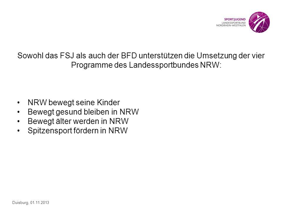 Duisburg, 01.11.2013 Sowohl das FSJ als auch der BFD unterstützen die Umsetzung der vier Programme des Landessportbundes NRW: NRW bewegt seine Kinder