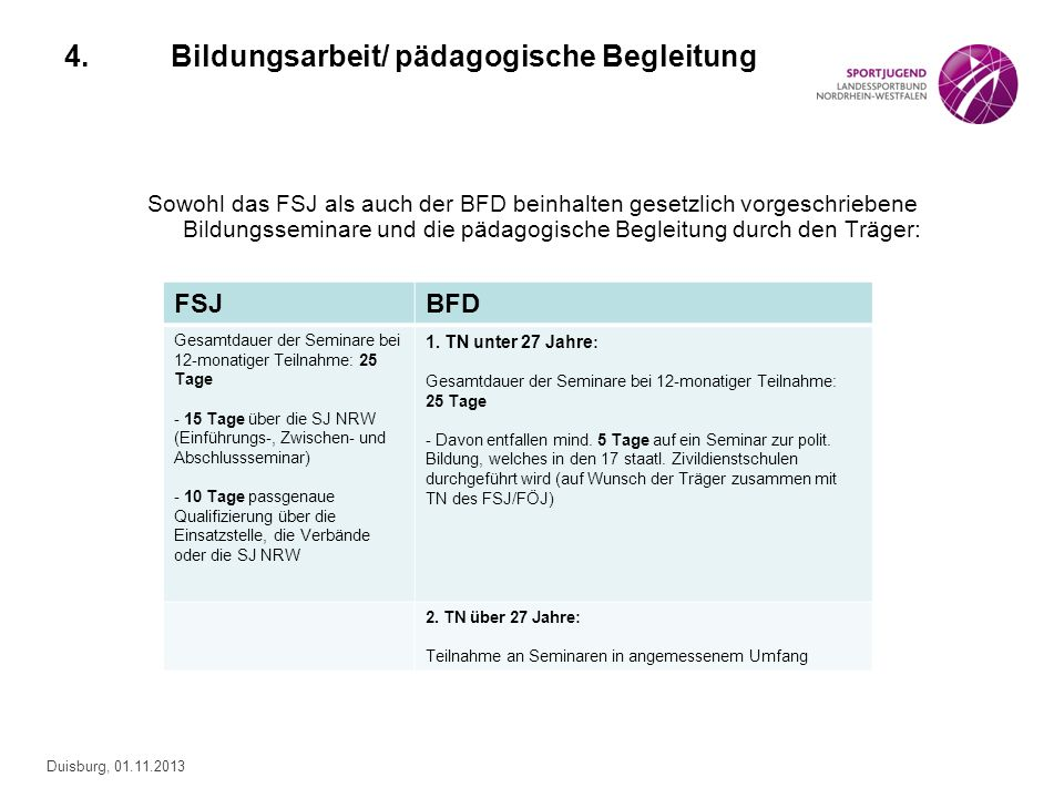 Duisburg, 01.11.2013 4.Bildungsarbeit/ pädagogische Begleitung Sowohl das FSJ als auch der BFD beinhalten gesetzlich vorgeschriebene Bildungsseminare