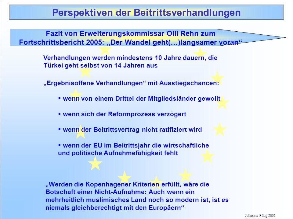 Johannes Pflug 2006 Perspektiven der Beitrittsverhandlungen Verhandlungen werden mindestens 10 Jahre dauern, die Türkei geht selbst von 14 Jahren aus