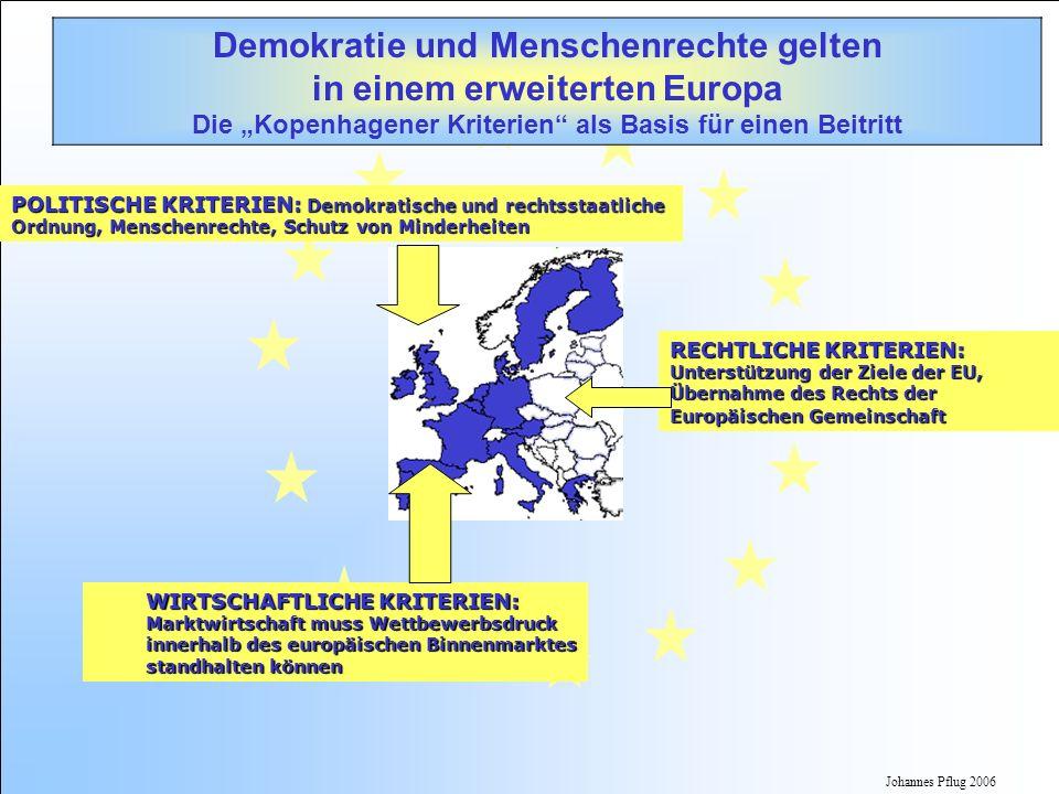 Johannes Pflug 2006 POLITISCHE KRITERIEN: Demokratische und rechtsstaatliche Ordnung,Menschenrechte,Schutz von Minderheiten POLITISCHE KRITERIEN: Demo