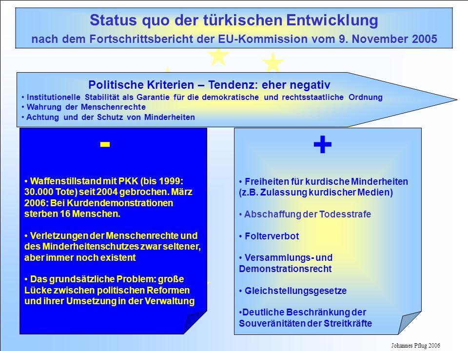 Johannes Pflug 2006 Status quo der türkischen Entwicklung nach dem Fortschrittsbericht der EU-Kommission vom 9. November 2005 Politische Kriterien – T