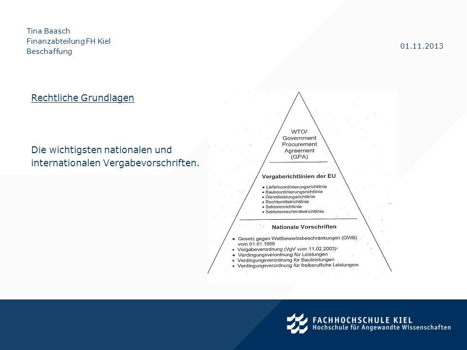 Tina Baasch Finanzabteilung FH Kiel Beschaffung 01.11.2013 Besonderheiten der IT-Beschaffung Beschaffungen im Regelfall über den IT-Rahmenvertrag Sollten Geräte nicht über den IT-Rahmenvertrag beschafft werden können, gilt folgende Vorgehensweise: Ab einem Nettowert von 150,00 ist jede Beschaffung über die zentrale Beschaffungsstelle einzureichen Einholung von 3 produktneutralen, vergleichbaren Angeboten Beschaffungsvermerk fertigen Ab einem Beschaffungswert von 5.000,00 schriftliche Angebotseinholung Schriftliche Begründung, warum nicht aus dem Rahmenvertrag beschafft wird