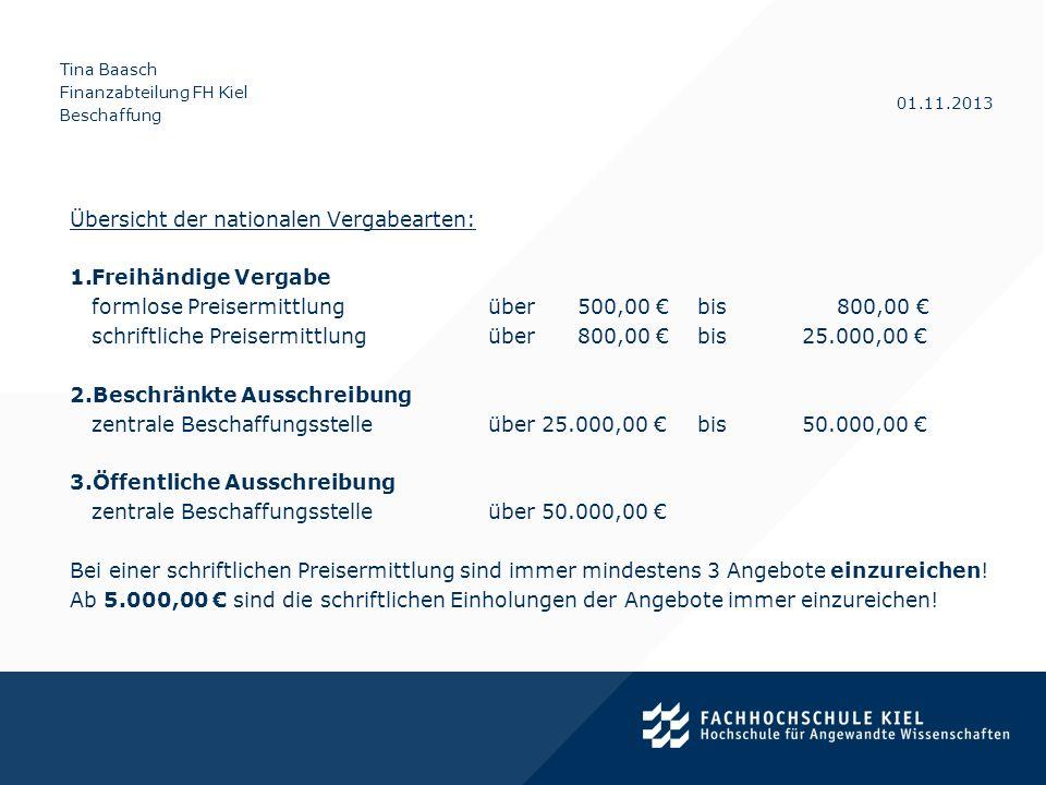Tina Baasch Finanzabteilung FH Kiel Beschaffung 01.11.2013 Vergaberechtliche Grundlagen 2.Internationale Verfahren Voraussetzung: Schwellenwert gem.