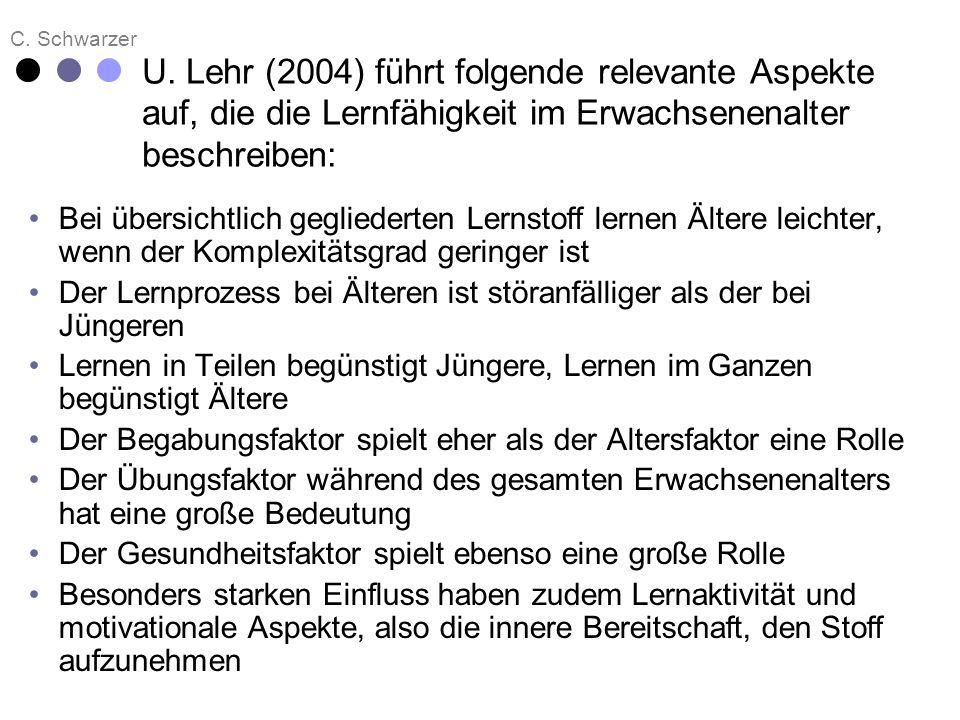 C. Schwarzer U. Lehr (2004) führt folgende relevante Aspekte auf, die die Lernfähigkeit im Erwachsenenalter beschreiben: Bei übersichtlich gegliederte