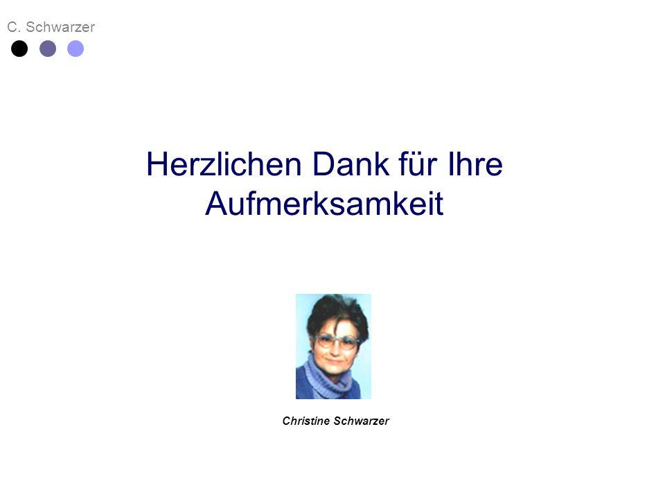 C. Schwarzer Christine Schwarzer Herzlichen Dank für Ihre Aufmerksamkeit