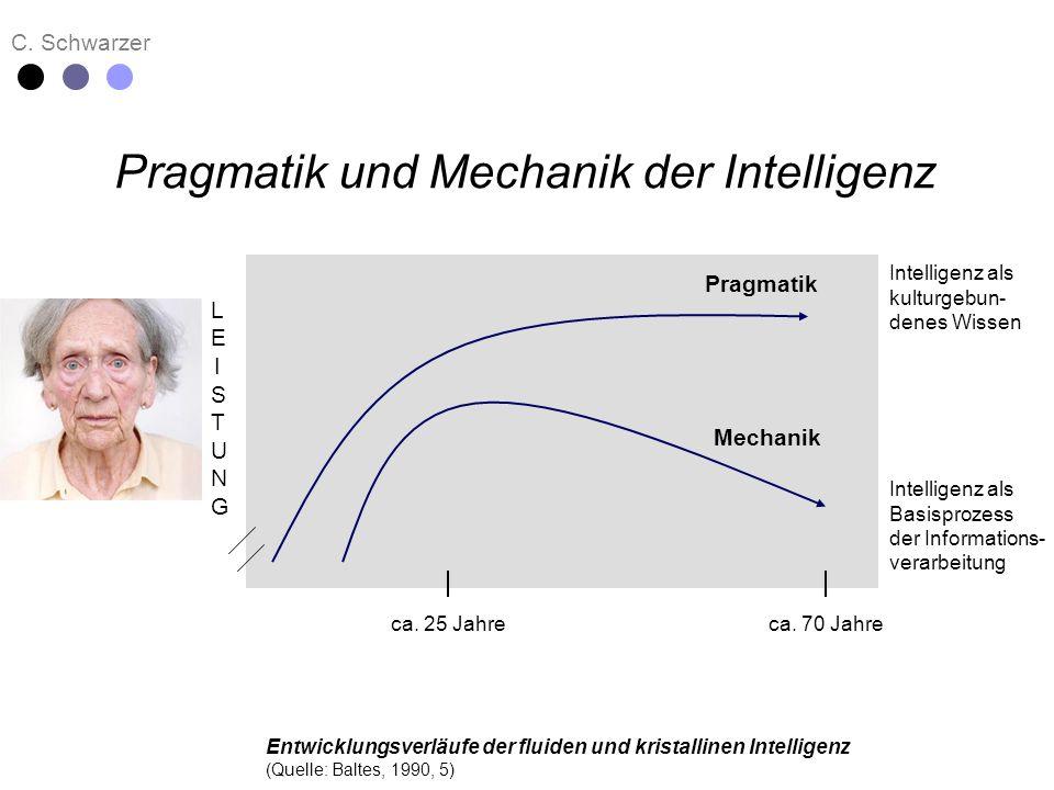 C. Schwarzer Pragmatik und Mechanik der Intelligenz Pragmatik Mechanik ca. 25 Jahreca. 70 Jahre Intelligenz als kulturgebun- denes Wissen Intelligenz