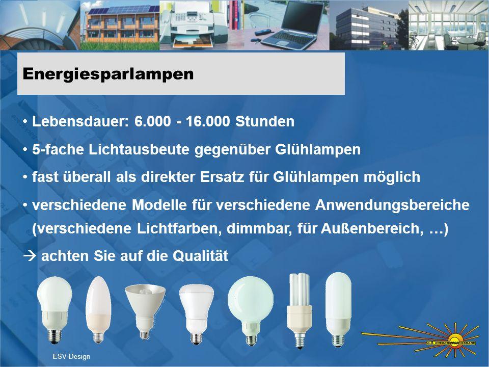 Energiesparlampen Lebensdauer: 6.000 - 16.000 Stunden 5-fache Lichtausbeute gegenüber Glühlampen fast überall als direkter Ersatz für Glühlampen mögli
