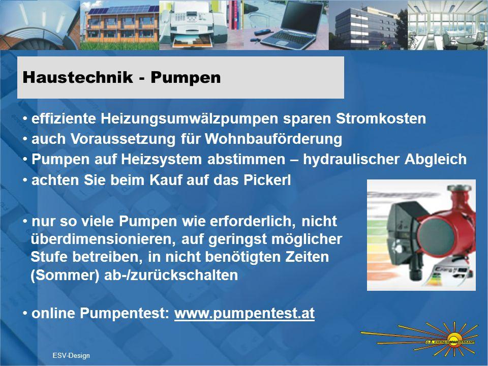 Haustechnik - Pumpen ESV-Design effiziente Heizungsumwälzpumpen sparen Stromkosten auch Voraussetzung für Wohnbauförderung Pumpen auf Heizsystem absti