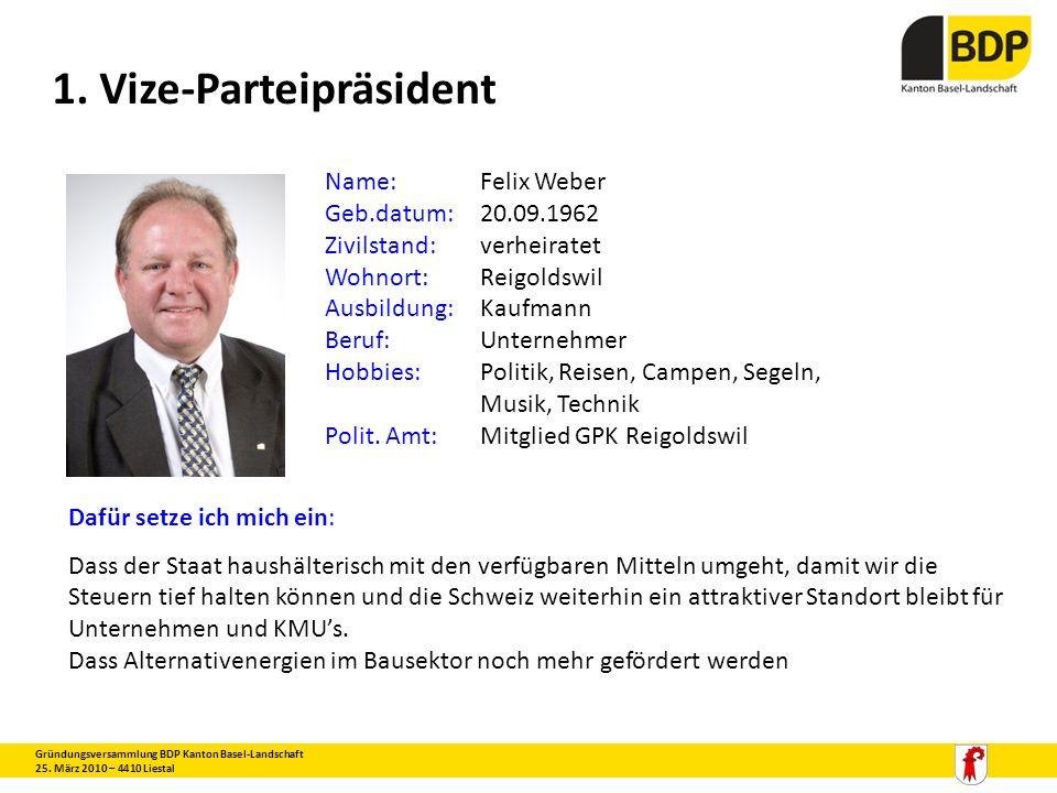 1. Vize-Parteipräsident Gründungsversammlung BDP Kanton Basel-Landschaft 25. März 2010 – 4410 Liestal Name:Felix Weber Geb.datum:20.09.1962 Zivilstand