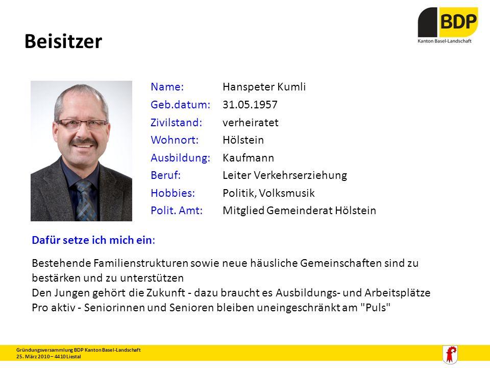 Beisitzer Gründungsversammlung BDP Kanton Basel-Landschaft 25. März 2010 – 4410 Liestal Name:Hanspeter Kumli Geb.datum:31.05.1957 Zivilstand:verheirat