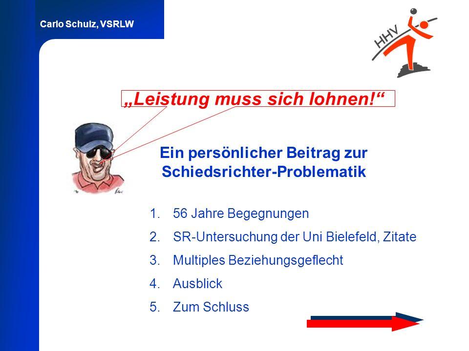 Carlo Schulz, VSRLW Leistung muss sich lohnen! Ein persönlicher Beitrag zur Schiedsrichter-Problematik 1.56 Jahre Begegnungen 2.SR-Untersuchung der Un