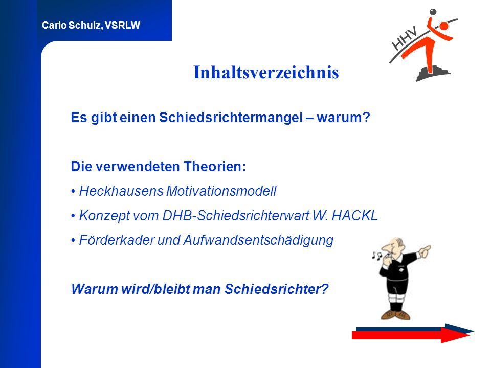 Carlo Schulz, VSRLW Inhaltsverzeichnis Es gibt einen Schiedsrichtermangel – warum? Die verwendeten Theorien: Heckhausens Motivationsmodell Konzept vom