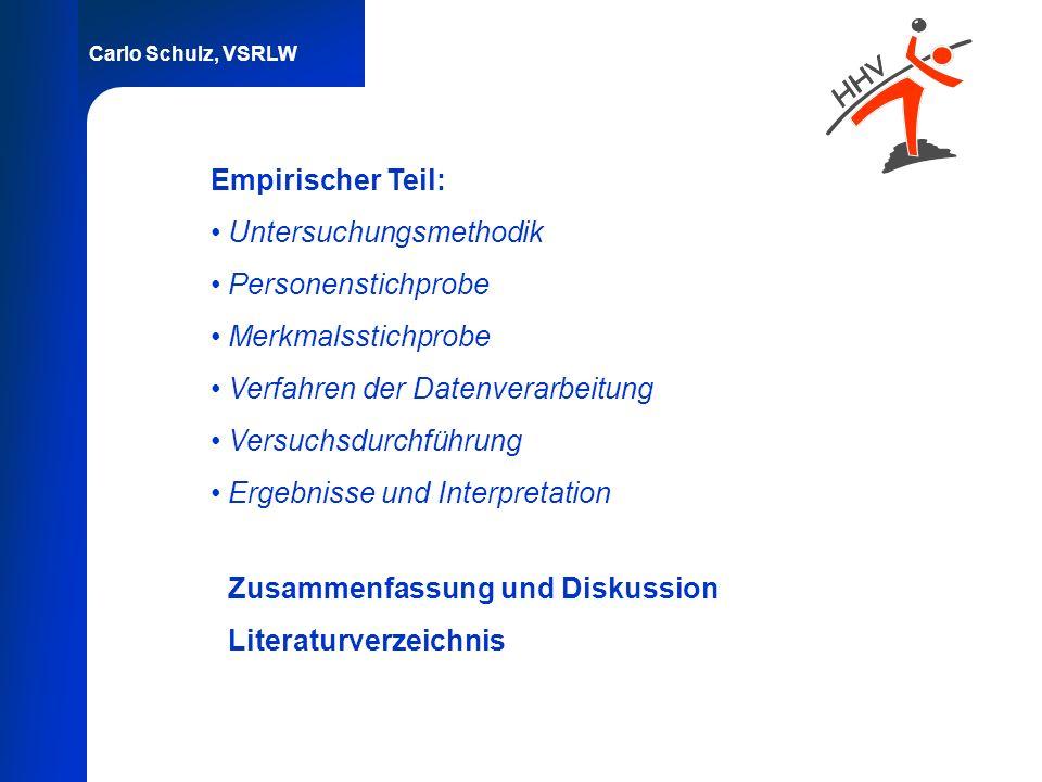 Carlo Schulz, VSRLW Empirischer Teil: Untersuchungsmethodik Personenstichprobe Merkmalsstichprobe Verfahren der Datenverarbeitung Versuchsdurchführung