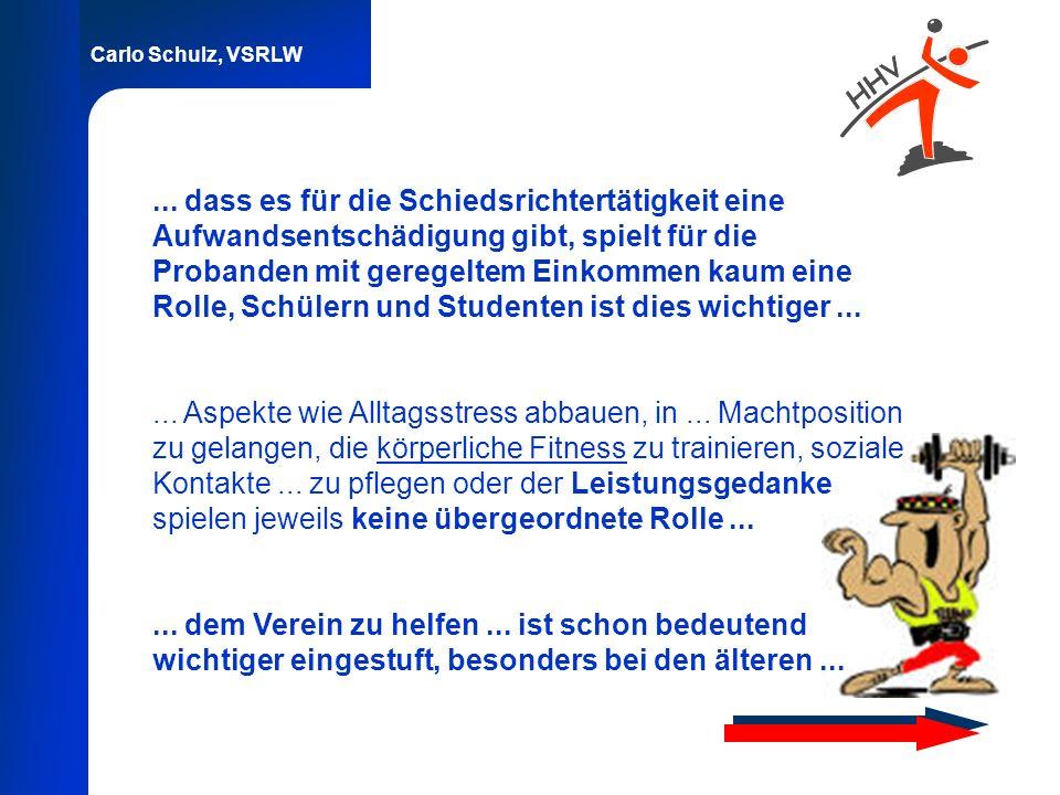 Carlo Schulz, VSRLW... dass es für die Schiedsrichtertätigkeit eine Aufwandsentschädigung gibt, spielt für die Probanden mit geregeltem Einkommen kaum