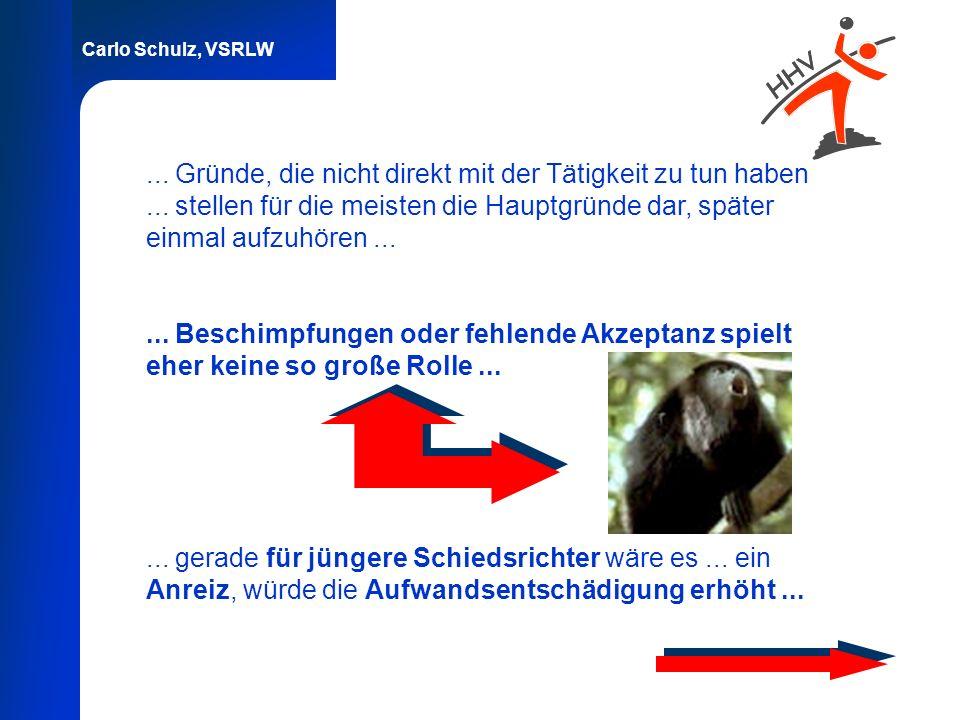 Carlo Schulz, VSRLW... Gründe, die nicht direkt mit der Tätigkeit zu tun haben... stellen für die meisten die Hauptgründe dar, später einmal aufzuhöre