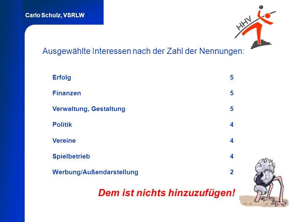 Carlo Schulz, VSRLW Ausgewählte Interessen nach der Zahl der Nennungen: Erfolg5 Finanzen5 Verwaltung, Gestaltung5 Politik4 Vereine4 Spielbetrieb4 Werb