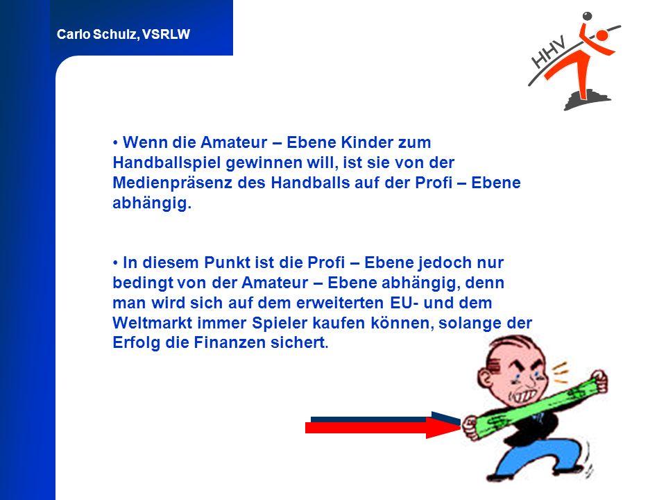 Carlo Schulz, VSRLW Wenn die Amateur – Ebene Kinder zum Handballspiel gewinnen will, ist sie von der Medienpräsenz des Handballs auf der Profi – Ebene
