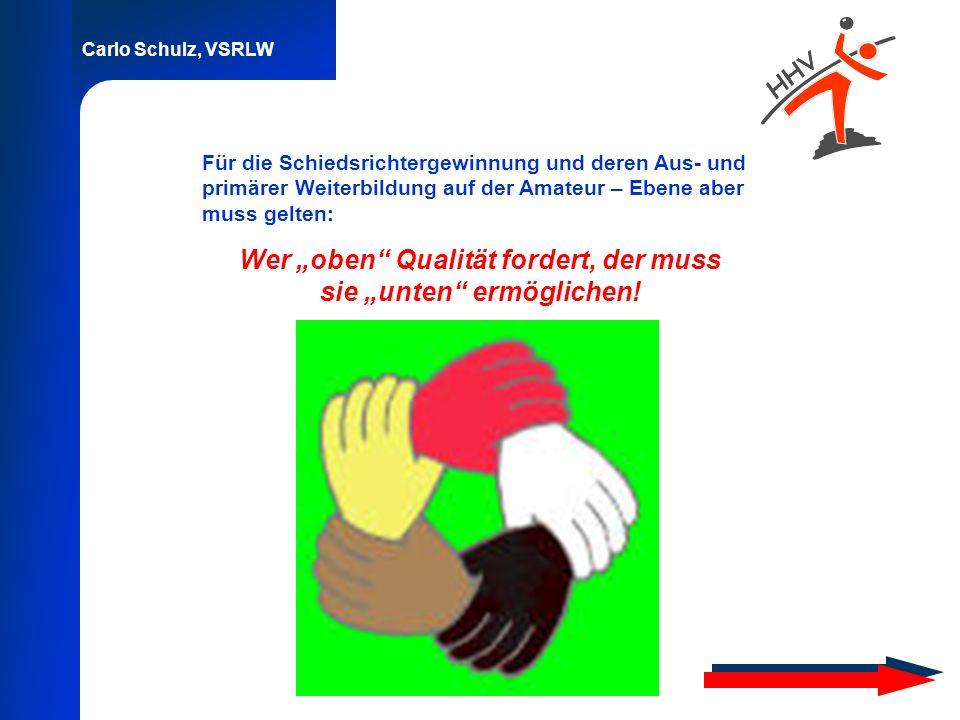 Carlo Schulz, VSRLW Für die Schiedsrichtergewinnung und deren Aus- und primärer Weiterbildung auf der Amateur – Ebene aber muss gelten: Wer oben Quali
