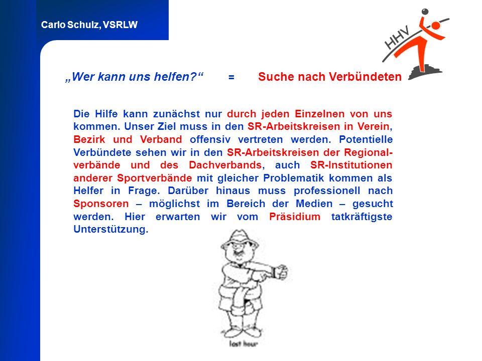 Carlo Schulz, VSRLW Wer kann uns helfen? = Suche nach Verbündeten Die Hilfe kann zunächst nur durch jeden Einzelnen von uns kommen. Unser Ziel muss in