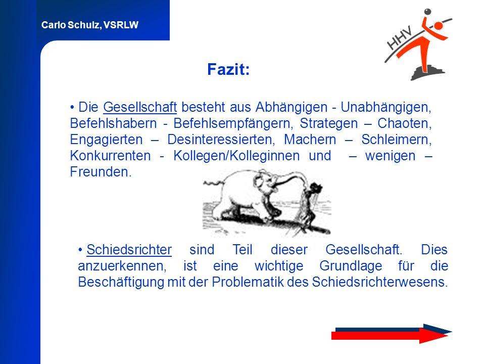Carlo Schulz, VSRLW Fazit: Die Gesellschaft besteht aus Abhängigen - Unabhängigen, Befehlshabern - Befehlsempfängern, Strategen – Chaoten, Engagierten
