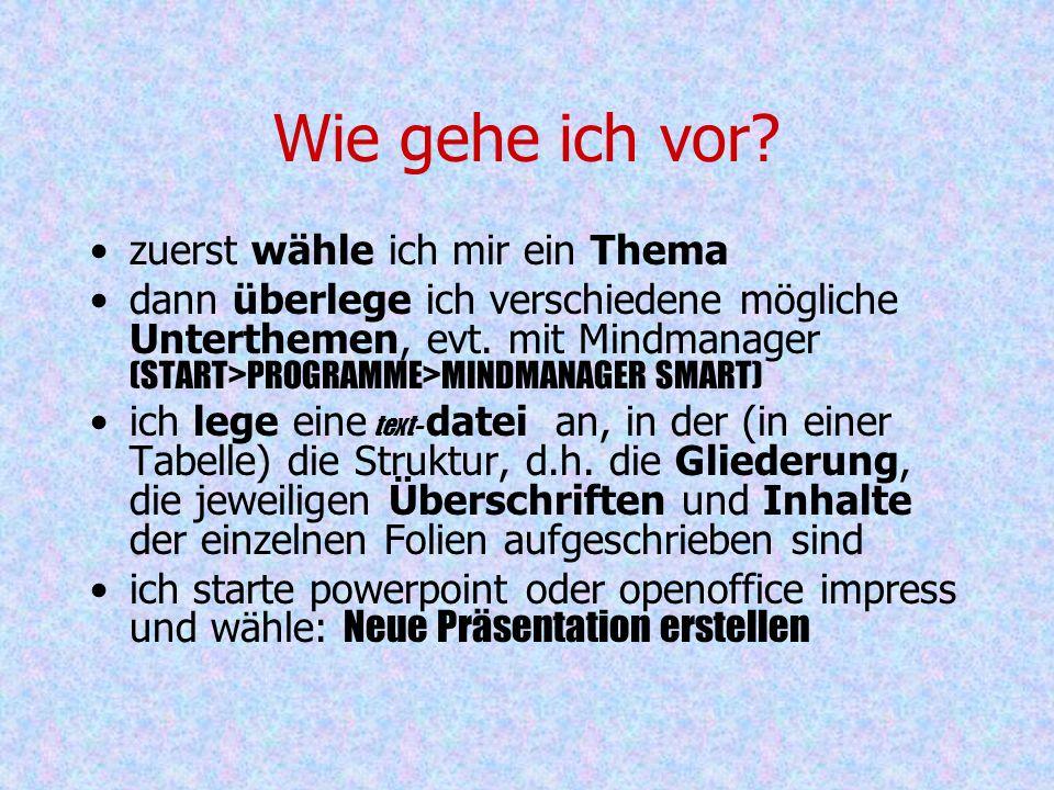 Powerpointpräsentation Wald z.B. Präsentation des eigenen Spezialthemas Titelfolie Inhaltsfolie min. 4 Themenfolien zu unterschiedlichen Themen, z.B.