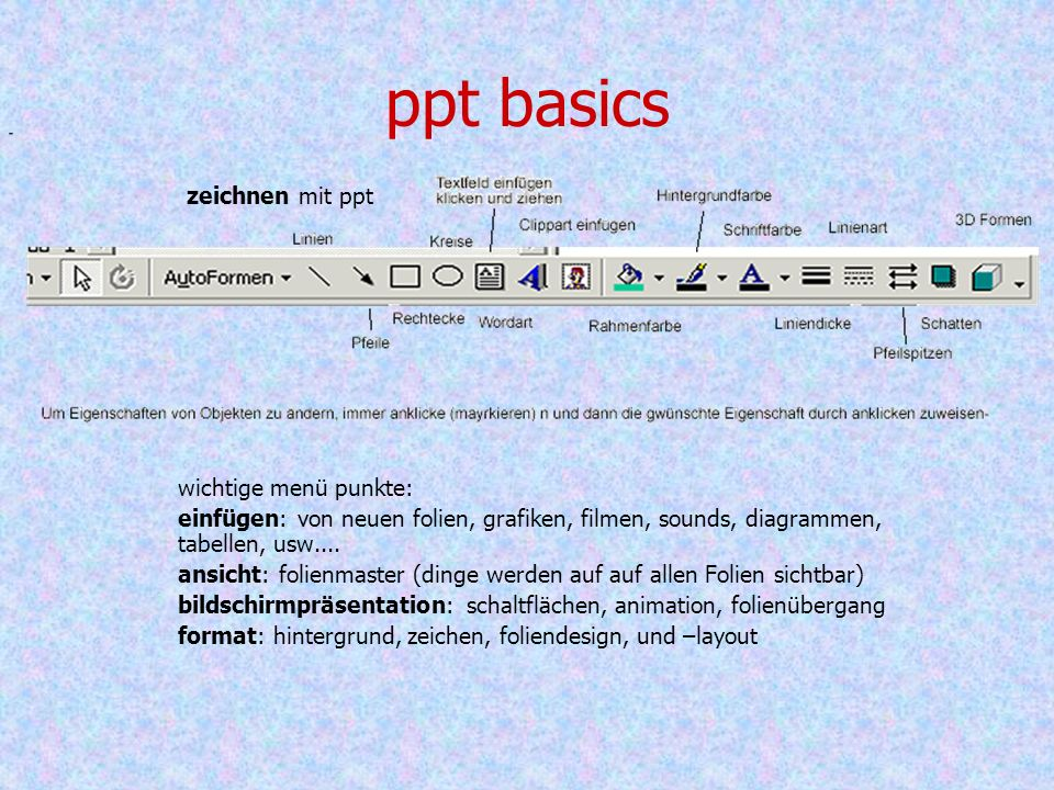 ppt basics wichtige menü punkte: einfügen: von neuen folien, grafiken, filmen, sounds, diagrammen, tabellen, usw....