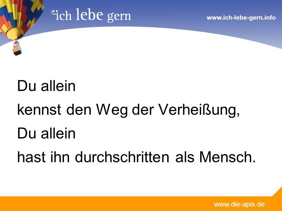 www.die-apis.de www.ich-lebe-gern.info Du allein kennst jede Höhe und Tiefe, die unsern Weg begleiten; Herr du kennst dich aus!