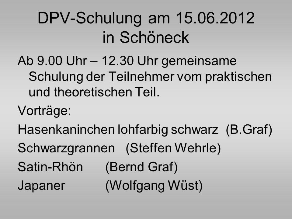 DPV-Schulung am 15.06.2012 in Schöneck Ab 9.00 Uhr – 12.30 Uhr gemeinsame Schulung der Teilnehmer vom praktischen und theoretischen Teil. Vorträge: Ha