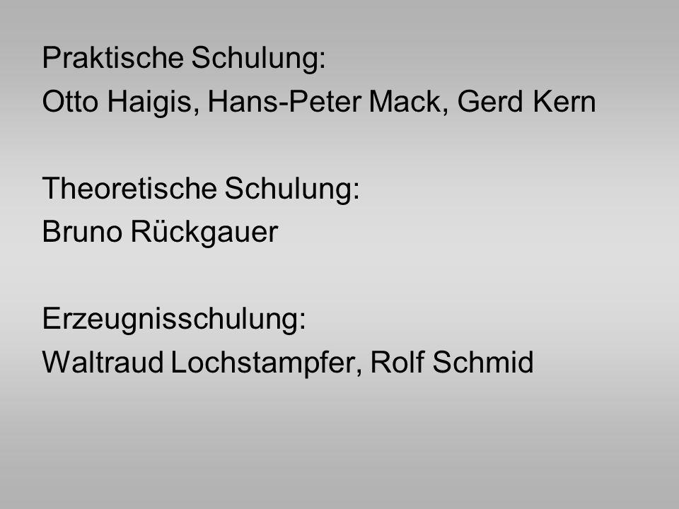 Praktische Schulung: Otto Haigis, Hans-Peter Mack, Gerd Kern Theoretische Schulung: Bruno Rückgauer Erzeugnisschulung: Waltraud Lochstampfer, Rolf Sch