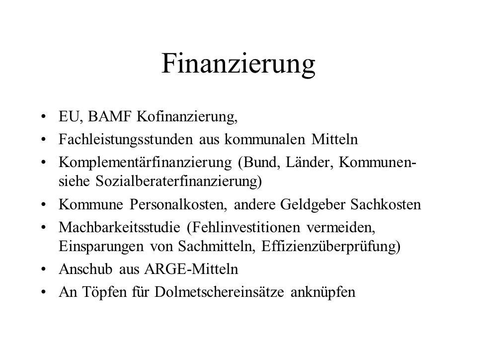 Finanzierung EU, BAMF Kofinanzierung, Fachleistungsstunden aus kommunalen Mitteln Komplementärfinanzierung (Bund, Länder, Kommunen- siehe Sozialberate