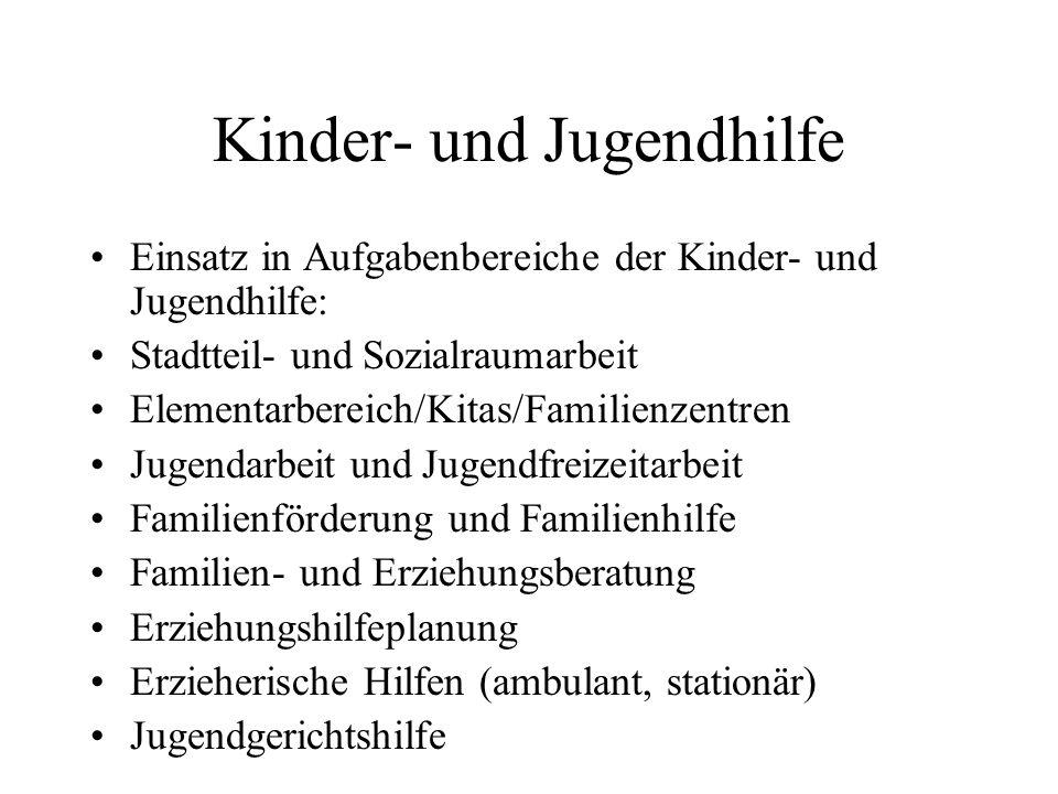Kinder- und Jugendhilfe Einsatz in Aufgabenbereiche der Kinder- und Jugendhilfe: Stadtteil- und Sozialraumarbeit Elementarbereich/Kitas/Familienzentre