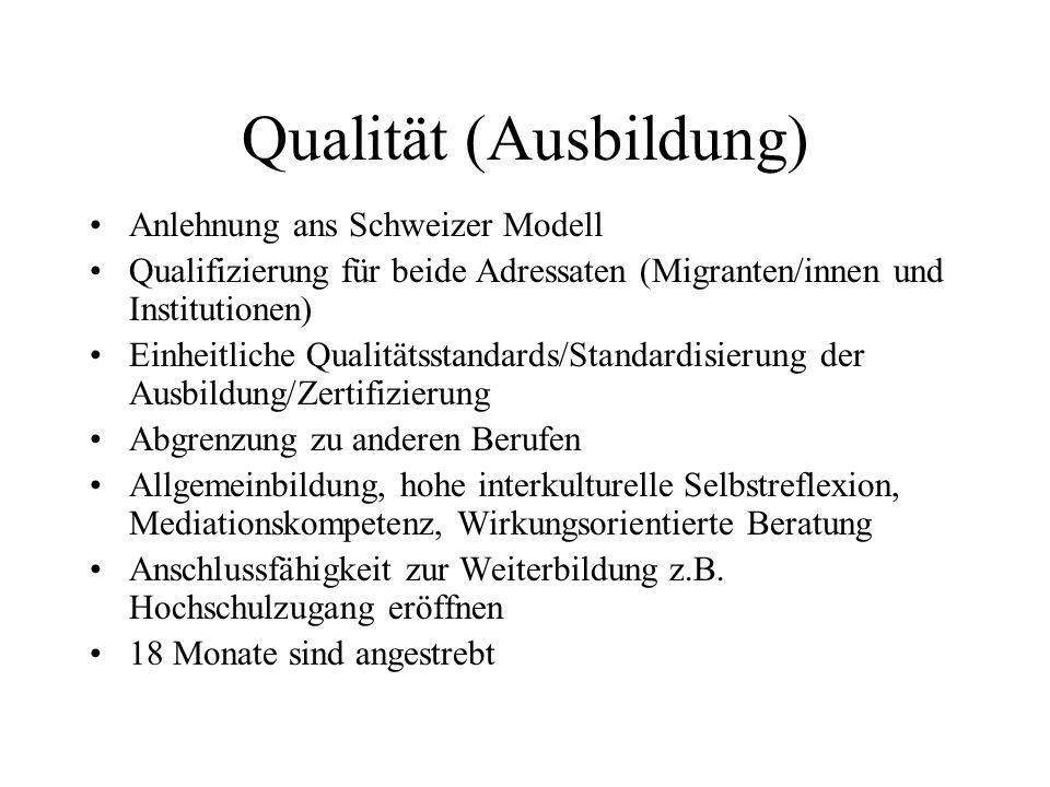 Qualität (Ausbildung) Anlehnung ans Schweizer Modell Qualifizierung für beide Adressaten (Migranten/innen und Institutionen) Einheitliche Qualitätssta
