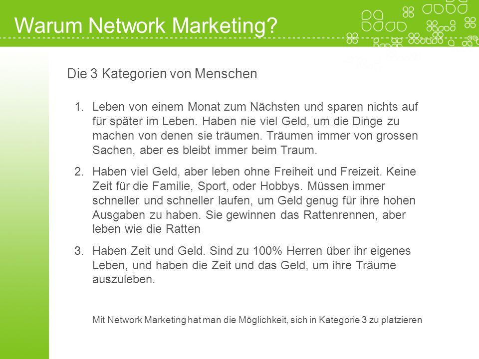Warum Network Marketing? Die 3 Kategorien von Menschen 1.Leben von einem Monat zum Nächsten und sparen nichts auf für später im Leben. Haben nie viel