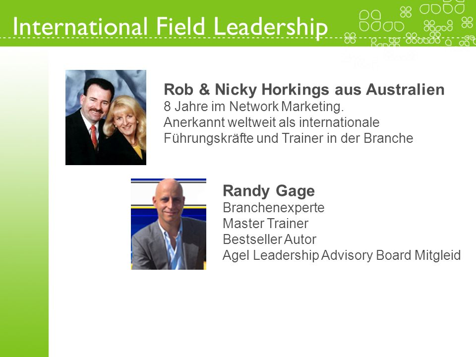 International Field Leadership Rob & Nicky Horkings aus Australien 8 Jahre im Network Marketing. Anerkannt weltweit als internationale Führungskräfte