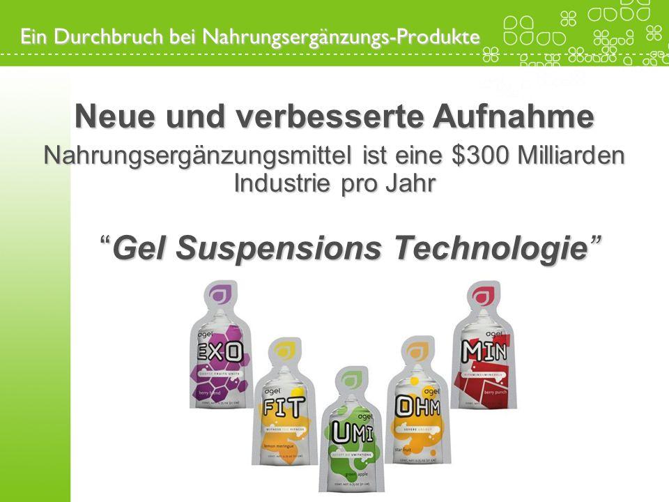 Neue und verbesserte Aufnahme Nahrungsergänzungsmittel ist eine $300 Milliarden Industrie pro Jahr Gel Suspensions Technologie Gel Suspensions Technol