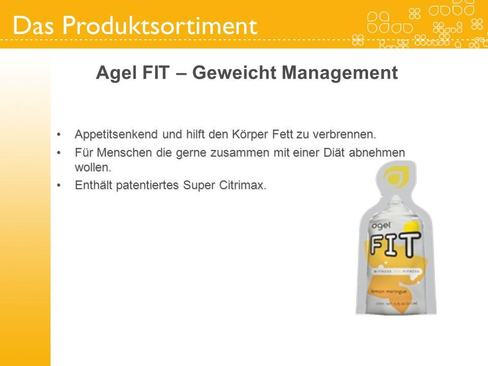 Das Produktsortiment Agel FIT – Geweicht Management Appetitsenkend und hilft den Körper Fett zu verbrennen.Appetitsenkend und hilft den Körper Fett zu
